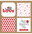 set with cat and patterns with hearts vector image vector image