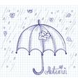 Sketch of an umbrella in the rain vector image vector image