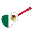 spanish cutaway acoustic guitar on flag of mexico vector image vector image