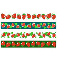 strawberry endless borders set vector image vector image