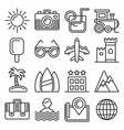 summer icons set on white background line style vector image vector image