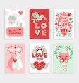 valentines day card love pink design with heart vector image vector image