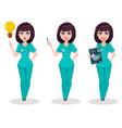 veterinarian woman set of three poses cute vector image vector image
