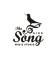 vintage singing bird with music notes beautiful vector image vector image