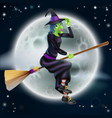 witch flying in front moon vector image