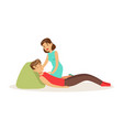 woman providing first aid to a lying injured man vector image vector image