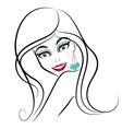 Woman long black hair vector image