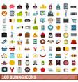 100 buying icons set flat style vector image