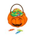 A Happy Jack-o-Lantern Pumpkin Basket with Candies vector image