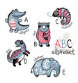 animals alphabet a - e for children vector image vector image