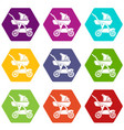 baby carriage designer icons set 9 vector image vector image