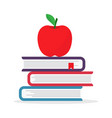 back to school pile textbooks with apple vector image vector image
