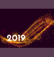 beautiful 2019 new year poster design with light vector image vector image