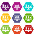 business graph at computer screen icon set color vector image vector image