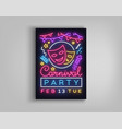 carnival party poster in neon style neon sign vector image vector image