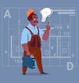cartoon african american builder with light bulb vector image vector image