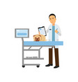 cheerful male veterinary doctor examining dog in vector image vector image