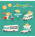 cheerful set delivery services graphics vector image