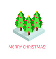 Christmas tree isometric poster vector image