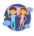 couple sleeping together with good dreams vector image vector image