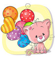 cute cartoon kitten with balloons vector image