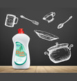 dishwashing liquid product utensils and detergent vector image vector image