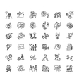 Doodles business icons set black and white vector image vector image