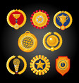 flat awards collection set of trophies emblems vector image vector image