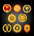 flat awards collection set trophies emblems vector image