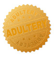 golden adultery medal stamp vector image vector image