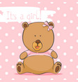 greeting card with a bear on a pink background vector image vector image