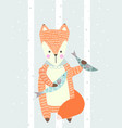 hand drawn funny cute fox with fish vector image vector image