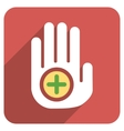 Hand Medical Marker Flat Rounded Square Icon with vector image vector image