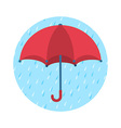 Icon of red umbrella and rainy day vector image vector image