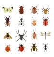 Insects icons flat set vector image