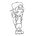 Line-art of a boy with backpack vector image vector image