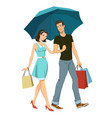 loving couple under an umbrella vector image