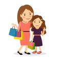 Mom and daughter shopping day vector image vector image