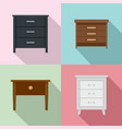 nightstand bedside icons set flat style vector image