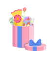 pink festive opened gift box with blue bow vector image vector image