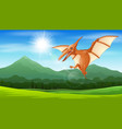 printpterodactyl flying under the sun vector image