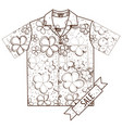 red shirt with short sleeves outline drawing of vector image vector image