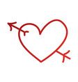 romantic heart love arrow cupid valentine symbol vector image vector image
