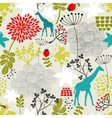 Seamless pattern with giraffe and flowers vector image vector image