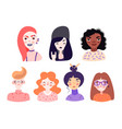 set cute cartoon girl portraits isolated on vector image