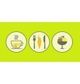 Set of modern flat icons with vegetarian products vector image