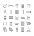 solar energy equipment icons set outline style vector image vector image