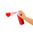 spray white hand heart vector image vector image