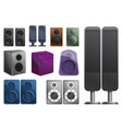 stereo sound system icons set cartoon style vector image