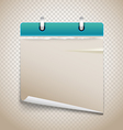 Vintage paper diary with bended corner on vector image vector image